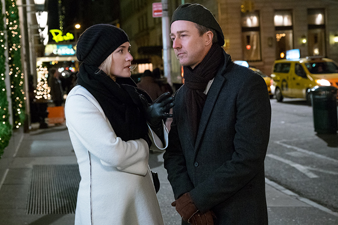 kate winslet and edward norton on the streets of new york in collateral beauty