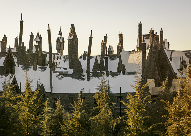 Wizarding World of Harry Potter Castle in snow