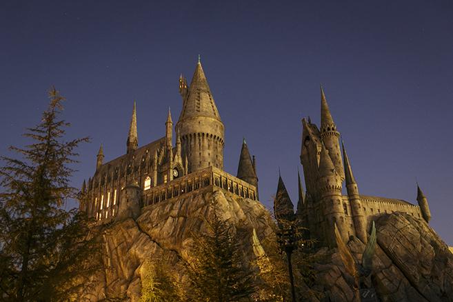 Wizarding World of Harry Potter Castle at dusk