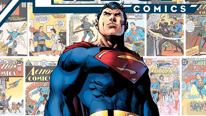 Superman in front of Action Comics covers