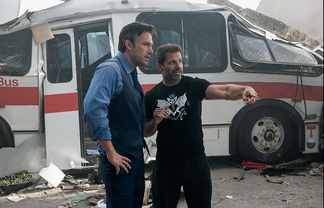 ben affleck and director zack snyder on the set of batman v superman dawn of justice