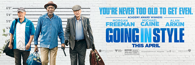 morgan freeman, michael caine and alan arkin pictured in the going in style banner