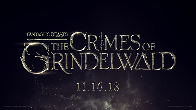 Fantastic Beasts 2: The Crimes of Grindelwald title treatment in gold with black background