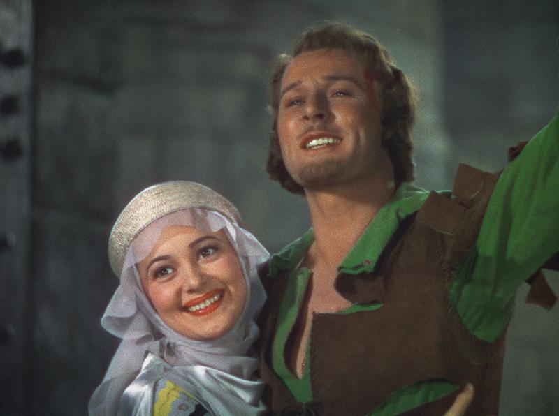 """Olivia de Havilland, and Errol Flynn in """"The Adventures of Robin Hood"""""""