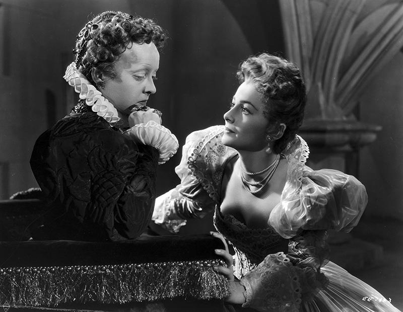 "Bette Davis and Olivia de Havilland in ""The Private Lives of Elizabeth and Essex"""