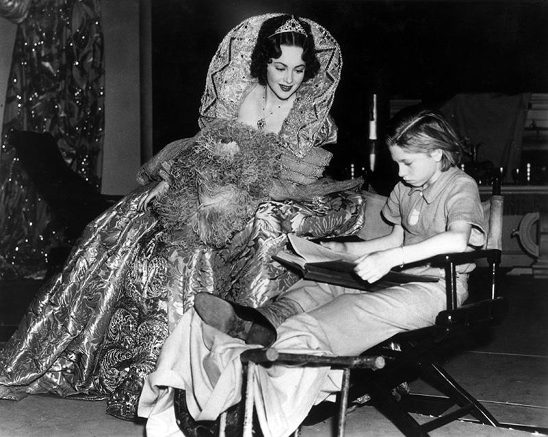 "Olivia de Havilland and Mickey Rooney behind the scenes of ""A Midsummer Night's Dream"""