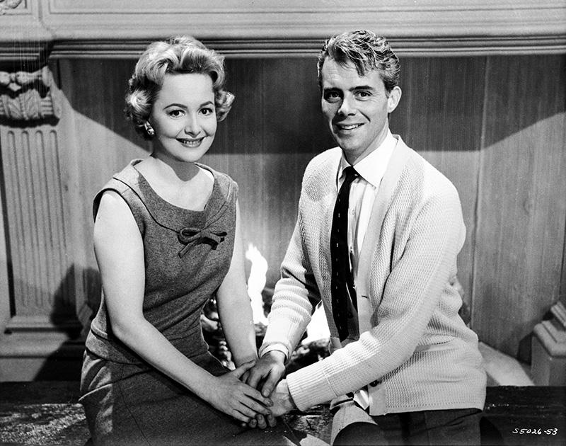 "Olivia de Havilland and Dirk Bogarde on the set of MGM's ""Libel"" (1959)."