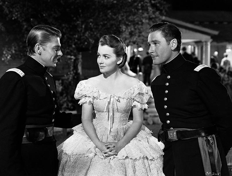 """Ronald Reagan, Olivia de Havilland and Errol Flynn in 'Santa Fe Trail."""""""