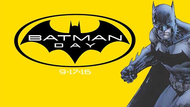 Batman Day logo with comic book Batman on yellow background