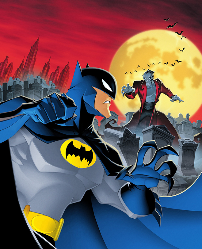 Batman vs Dracula showdown with cityscape