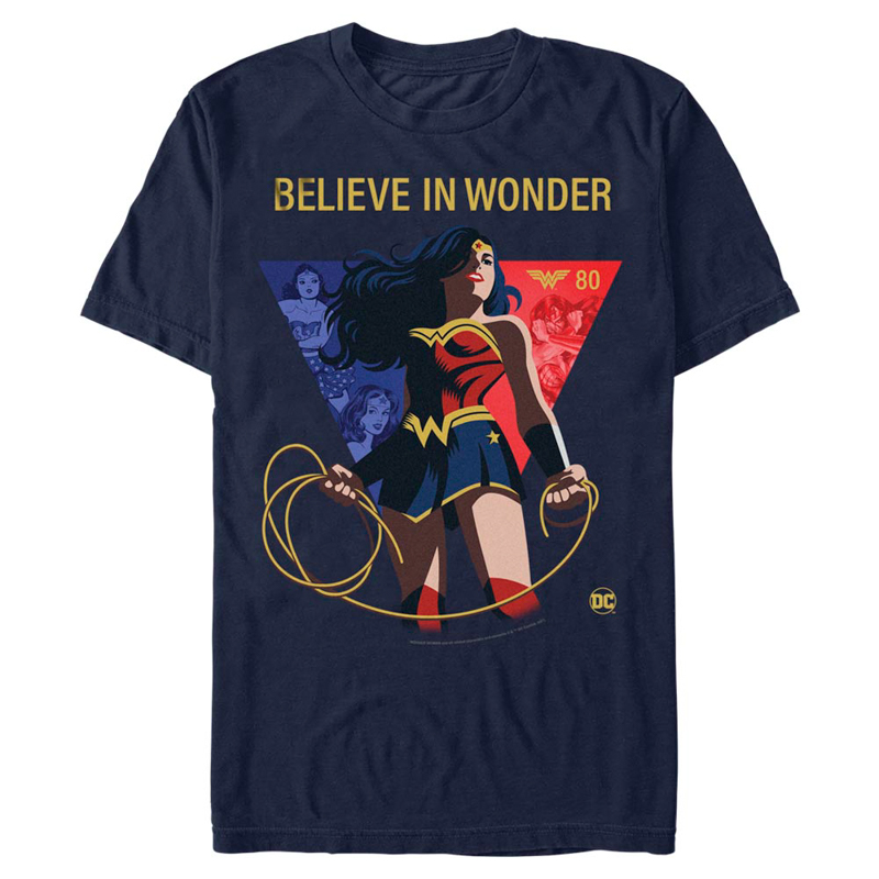 """""""Believe in Wonder"""" Wonder Woman 80th Anniversary T-shirt - Dark blue with logo"""