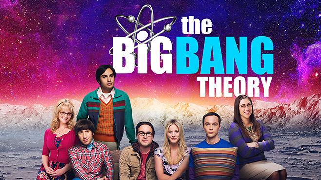 Cast of The Big Bang Theory on living room couch on the surface of the moon