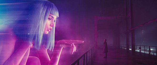 "ANA DE ARMAS as Joi and RYAN GOSLING as K in Alcon Entertainment's sci fi thriller ""BLADE RUNNER 2049,"" a Warner Bros. Pictures and Sony Pictures Entertainment release, domestic distribution by Warner Bros. Pictures and international distribution by Sony"