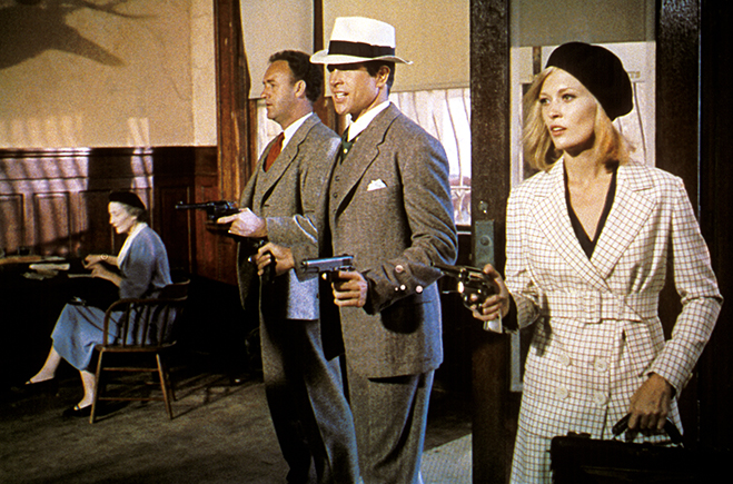 Gene Hackman as Buck Barrow, Warren Beatty as Clyde Barrow and Faye Dunaway as Bonnie Parker doing what they do best, robbing banks.