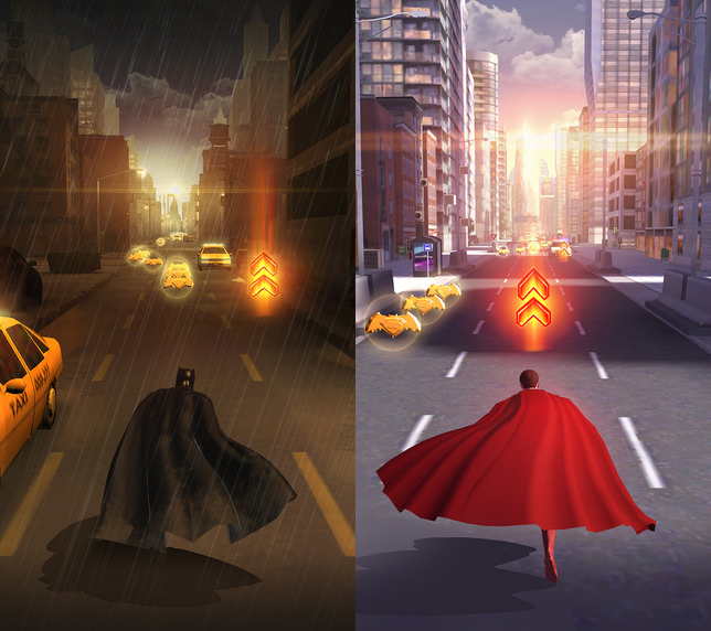 Screenshots of Batman and Superman from Who Will Win mobile game