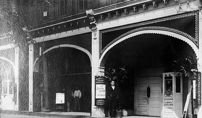 Albert Warner in front of the Cascade Theatre