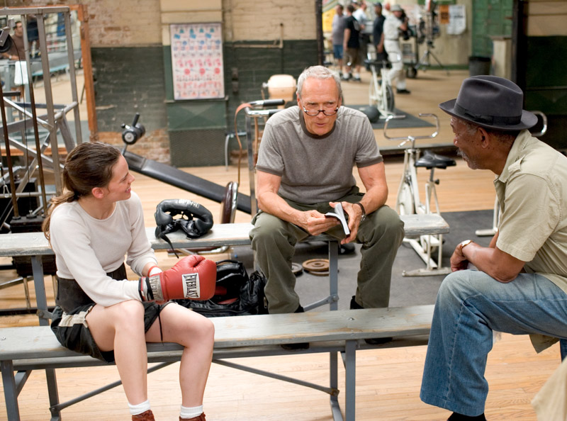 "Clint Eastwood, Hillary Swank and Morgan Freeman in ""Million Dollar Baby"""