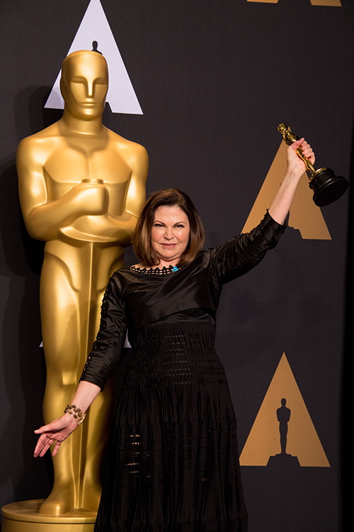 Colleen Atwood celebrating Oscar win