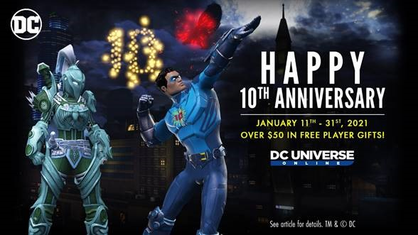 Dimensional Ink Celebrates 10 Years of the DC Universe Online Game with Free Player Events, Gifts, Member-Only Bonuses, Rewards and More!