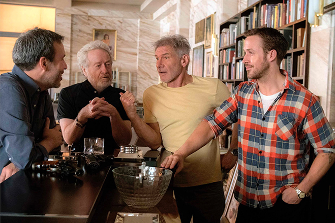 The old and new guard (director Denis Villeneuve, original Blade Runner director Ridley Scott, Harrison Ford and Ryan Gosling) together during a break from filming.