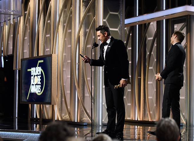 "James Franco accepts the Golden Globe Award for BEST PERFORMANCE BY AN ACTOR IN A MOTION PICTURE – COMEDY OR MUSICAL for his role in ""The Disaster Artist"" at the 75th Annual Golden Globe Awards at the Beverly Hilton in Beverly Hills, CA on Sunday, January"