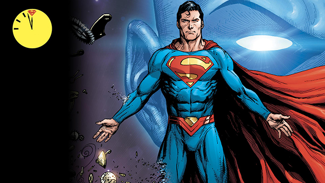 Superman in foreground, A large closeup of Dr. Manhattan in background and the Doomsday clock in far upper left