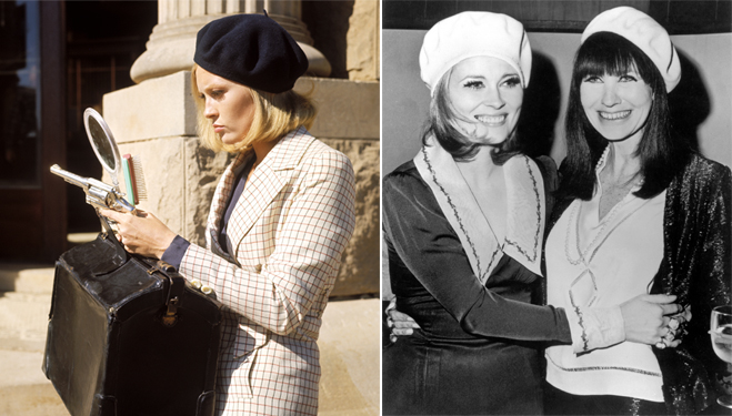 Faye Dunaway donning the famous beret from fashion designer Theadora Van Runkle, and the two pictured together during one of the film's premieres.