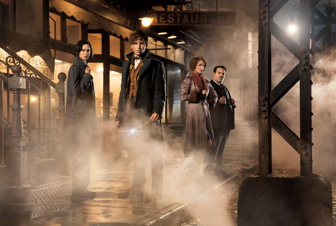 Fantastic Beasts cast in a foggy New York City street scene