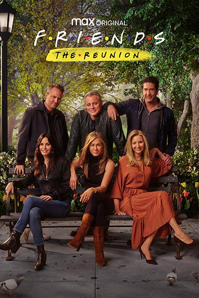 Jennifer Aniston, Courteney Cox, Lisa Kudrow, Matt LeBlanc, Matthew Perry, and David Schwimmer gathered around sitting outdoors