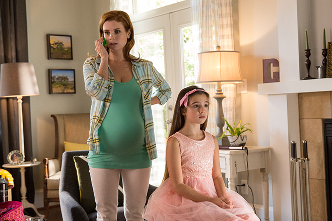 JoAnna Garcia Swisher plays the wife of Charlie Day's character and ten-year-old Alexa Nisenson plays their daughter