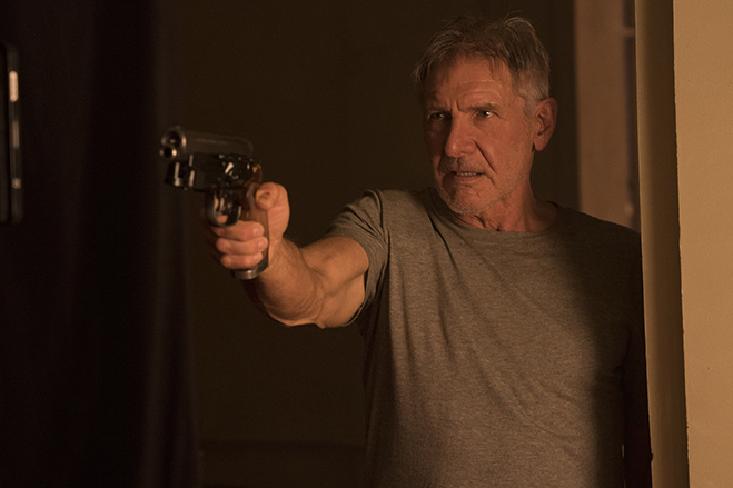 Harrison Ford revisits his iconic role as Rick Deckard in Blade Runner 2049.