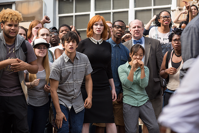 Christina Hendricks, pictured surrounded by extras, plays the rather deranged teacher Ms. Monet in Fist Fight.