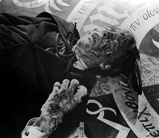 Christopher Lee as Dracula decaying in the sunlight