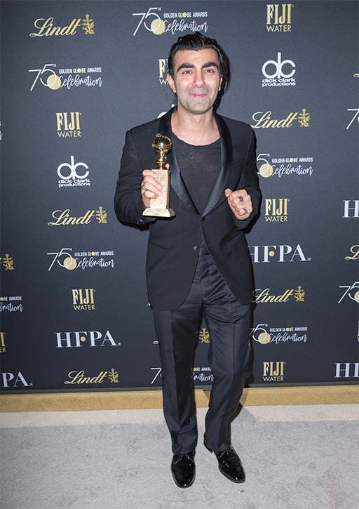 Fatih Akin poses with the award backstage at the 75th Annual Golden Globe Awards at the Beverly Hilton in Beverly Hills, CA on Sunday, January 7, 2018.