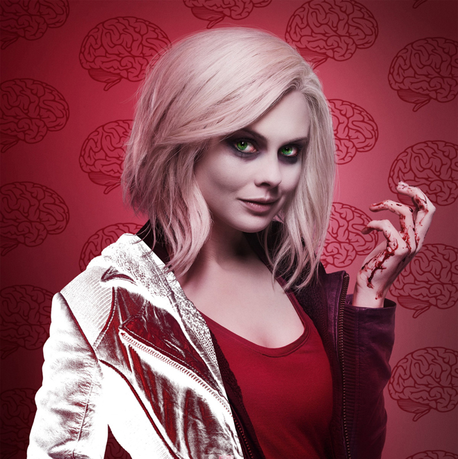Liv from iZombie standing in front of a red background with an image of brains