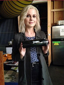 Rose McIver on set with her iZombie reusable water bottle