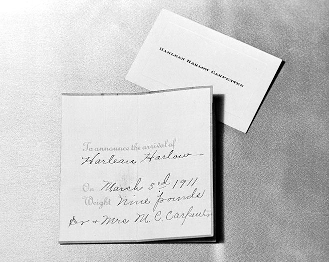Jean Harlow Birth Announcement