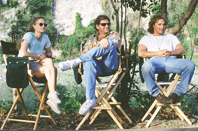 Jodie Foster, director Robert Zemeckis and Matthew McConaughey pictured taking a break on the set of Contact.