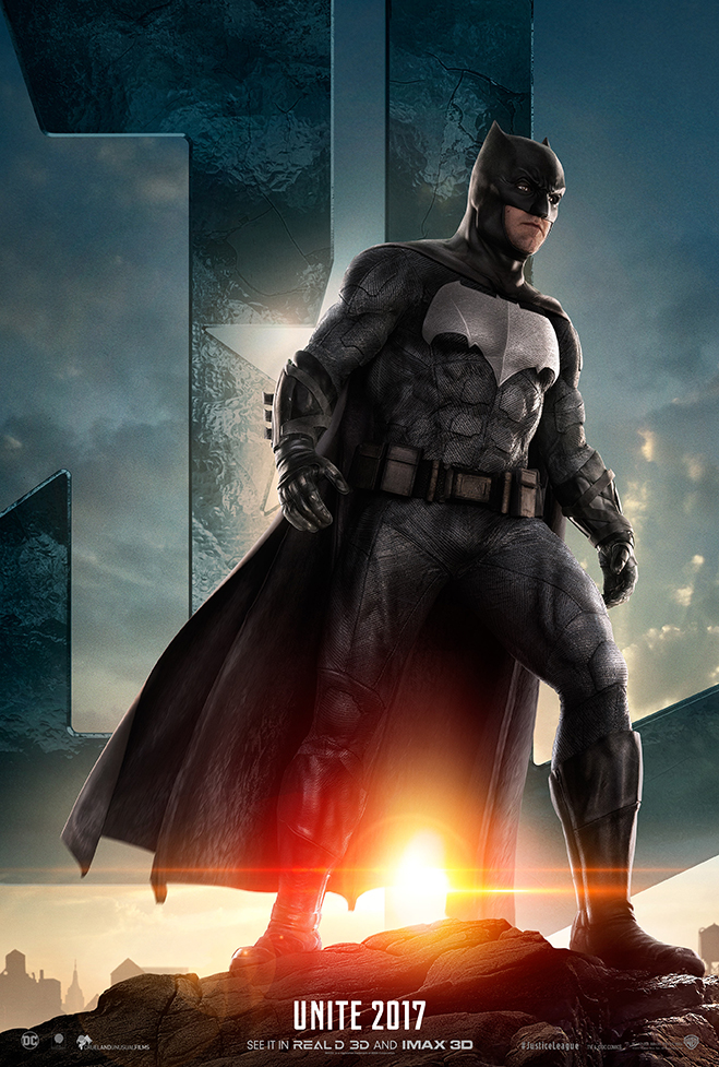 Batman standing in front of JL logo