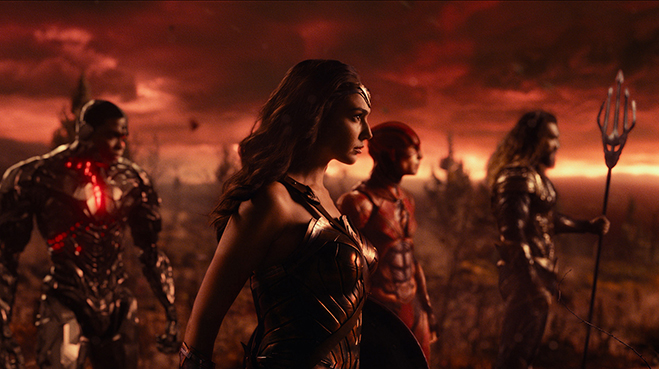 RAY FISHER as Cyborg, GAL GADOT as Wonder Woman, EZRA MILLER as The Flash and JASON MOMOA as Aquaman.