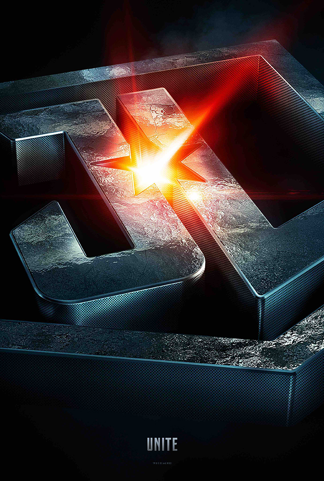 Justice League logo made from steel with star-shape in the center and light beam coming through