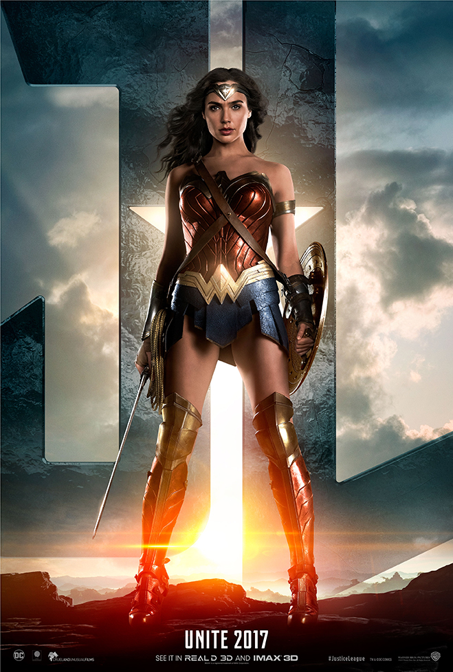 Wonder Woman standing in front of JL logo