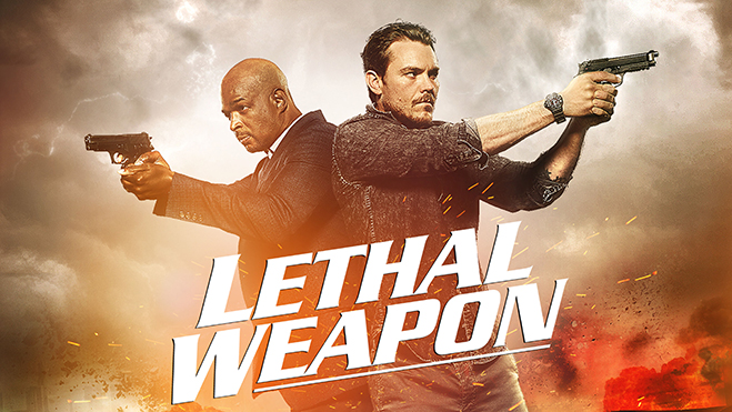 Cast of Lethal Weapon pointing guns