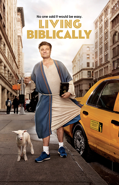Chip Curry (Jay R. Ferguson) in robes that are caught in a taxi in the middle of New York City holding a bible and a coffee