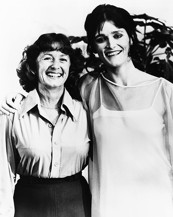 BTS shot of Noel Neill as Young Lois Lane's mother as Margot Kidder as Lois Lane.