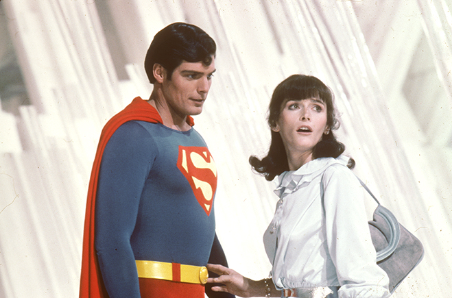 Medium shot of Christopher Reeve as Superman and Margot Kidder as Lois Lane inside Fortress of Solitude.