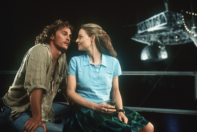 Matthew McConaughey and Jodie Foster represent the worlds of theology and science, respectively.