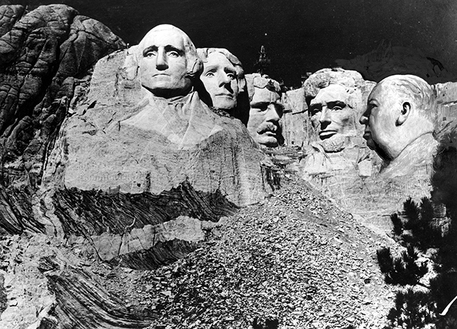 hitchcock is added to mount rushmore in this publicity photo for north by northwest