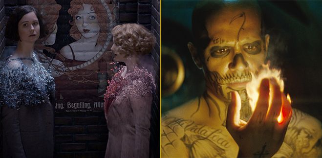 Scenes from Fantastic Beasts and Where to Find Them and Suicide Squad