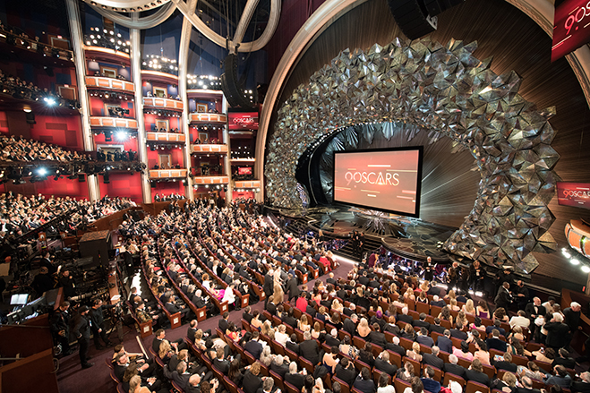 Long shot of the audience and stage of 90th Oscars awards